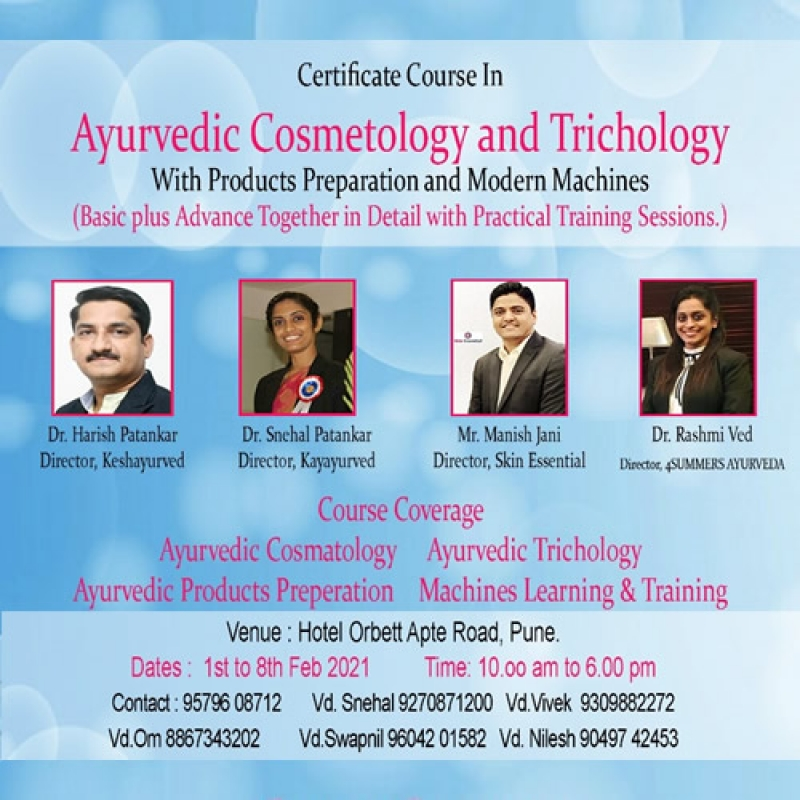 Certificate Course in Ayurvedic Cosmetology And Trichology.